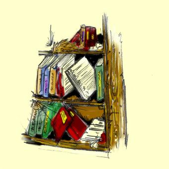 click to  expand - Dusty old bookcase