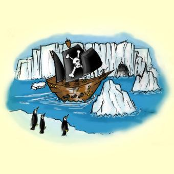 Penguins watch the pirate ship in the ice field - image from a story on goblinsearch.com